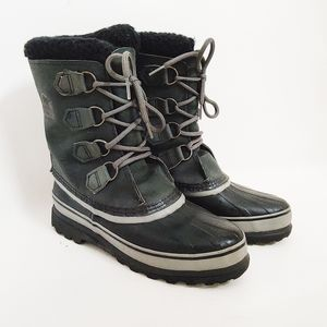 Sorel Womens Gray Black Faux Shearling Snow Boots